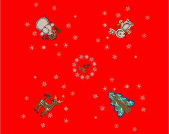 Cristmas New Year embroidery designs for tablecloth.