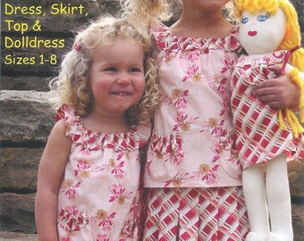 Pattern - Pattycake - Dress, Top, Pleat Skirt & Doll dress Paper Sewing Pattern by Olive Ann Designs (OAD71)