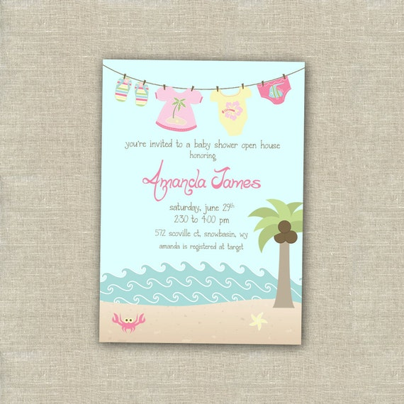 girl beach baby shower invitation printable by whiteplumink