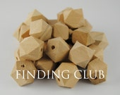 30 pcs 15mm Unfinished Natural Wood Beads 14 Hedron Geometric Figure WB03
