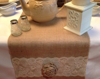 "Burlap and Lace Table Runner 12"", 14"" & 15"" wide with Ivory Lace and burlap roses"