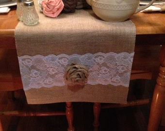 "Burlap and Lace Table Runner  16"" & 18"" wide with White Lace and burlap roses"