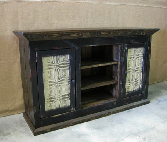 Media Console Tv Cabinet Storage Cabinet Shown In Black
