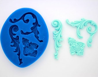 FRENCH SCROLLS 3 SILICONE Mold For Fondant, Gum Paste, Chocolate, Hard Candy, Fimo, Clay, Soaps