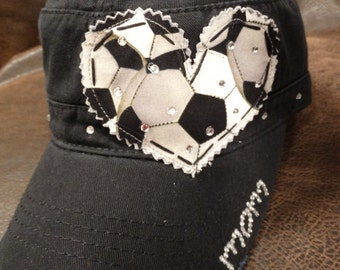 Soccer Mom LOVE Crystal Distressed Cadet Cap