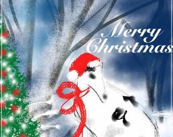 Merry Christmas, Borzoi, Art & collectibles, Digital Image, wall art, art print, artwork, painting, holiday, winter, Christmas, borzoi