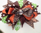Over the top bow- fall bow brown/orange/green
