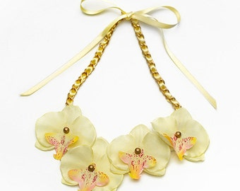 Summer Orchids Pale Yellow Bib fabric necklace