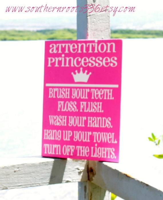 Items similar to attention princesses little girl bathroom for Little girl bathroom ideas