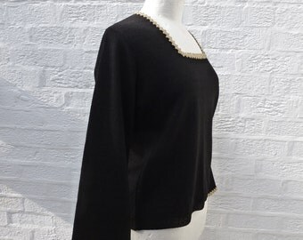 Womans jumper ladies black top ladies sweater black jumper vintage top womens eco black 1970s top vintage womens eco top medium size.