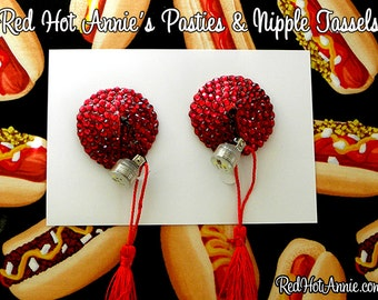 Rhinestone Pasties w/Tassel LED Blinking Light (Various Color Combos)