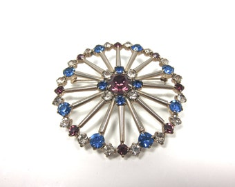 Vintage Large 1950s Blue, Lavender And Clear Austrian Crystal Filigree Brooch/Pin