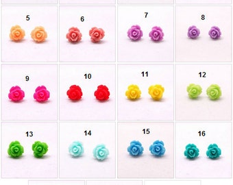 Rose ear studs - available in many colours