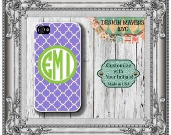Preppy Monogram iPhone Case, Purple Geometric iPhone Case, Personalized iPhone Case, iPhone 4, 4s, iPhone 5, 5s, 5c, iPhone 6, 6s, 6 Plus
