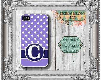 Preppy Polka Dot Monogram iPhone Case, Personalized iPhone Case, Purple Phone Case, iPhone 4, 4s, iPhone 5, 5s, 5c, iPhone 6, Phone Cover
