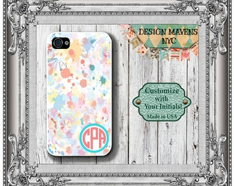 Watercolor Monogram iPhone Case, Personalized iPhone Case, iPhone 4, 4s, iPhone 5, 5s, 5c, iPhone 6, 6s, 6 Plus, SE, iPhone 7, 7 Plus