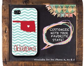 Oklahoma Chevron Stripe iPhone Case, Personalized iPhone Case, Fits iPhone 4, iPhone 4s, iPhone 5, 5s, 5c, iPhone 6, Phone Cover, Phone Case