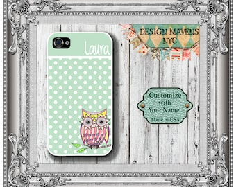 Preppy Owl Polka Dot iPhone Case, Monogram Phone Case, iPhone 4, 4s, iPhone 5, 5s, 5c, iPhone 6, 6s, 6 Plus, SE, iPhone 7, 7 Plus