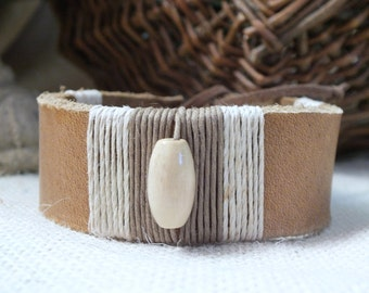 Tan Leather wrapped bracelet w/bead