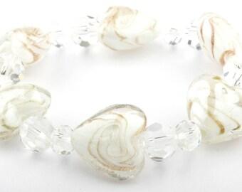 White Heart Murano Glass Stretch Beaded Fashion Bracelet