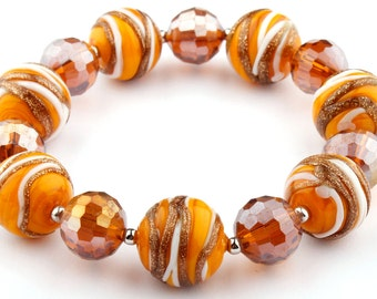 Orange Murano Glass Stretch Beaded Fashion Bracelet