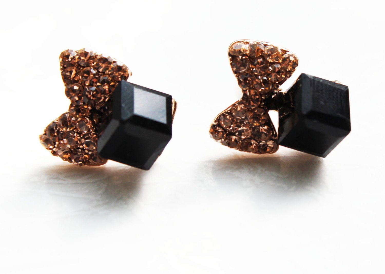 gift bow earrings black studs post by besidethecloud