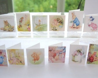 dollhouse  beatrix potter cards  12th scale display x 12 set B  lakeland artist