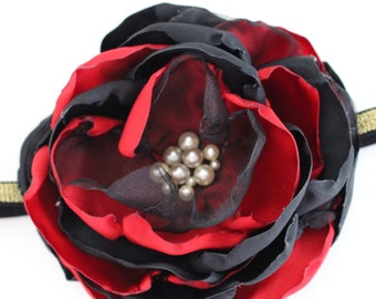 Red and Black Single Flower Headband, Over the top Hair Accessory, Holiday Headband, Baby Headband, Photo Prop, Oversized Flower, Christams