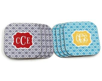 Personalized Coasters - Monogram Coaster Sets -Custom Monogram Beverage Coasters