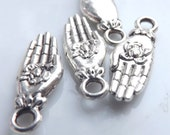 6 Healing Hand Charms Lotus in Hand  Yoga Buddhist charms