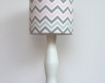 Medium Pink/Grey/White Chevron Drum Lamp Shade - Nursery or Girl's Lamp Shade