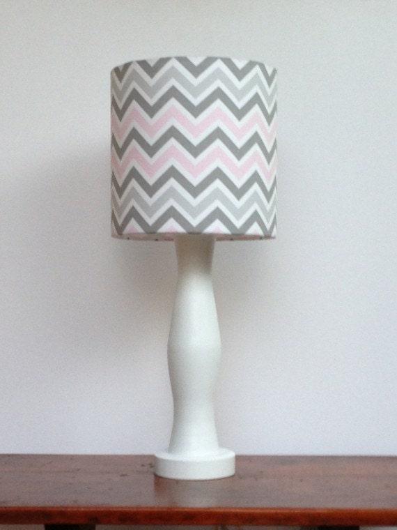 Medium Pink Grey White Chevron Drum Lamp Shade Nursery Or