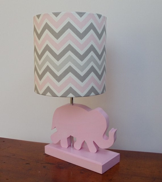 Small Pink Grey White Chevron Drum Lamp Shade Nursery Or