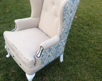 Wingback Chair Vintage Upholstered Custom Linen and Blue with Nails and Buttons