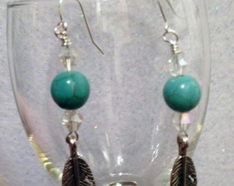 Feather Earrings - Turquoise