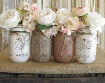 SALE!!! Set of 4 Pint Mason Jars, Ball jars, Painted Mason Jars, Flower Vases, Rustic Wedding Centerpieces, Creme, Tan and Brown  Mason Jars