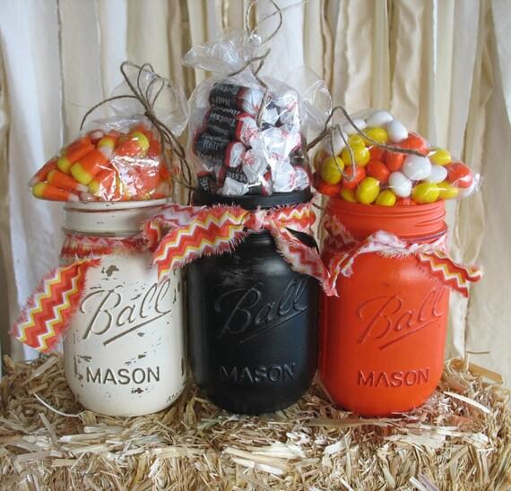 Mason Jar Party Decorations: Items Similar To Mason Jars, Decorative Mason Jars, Orange