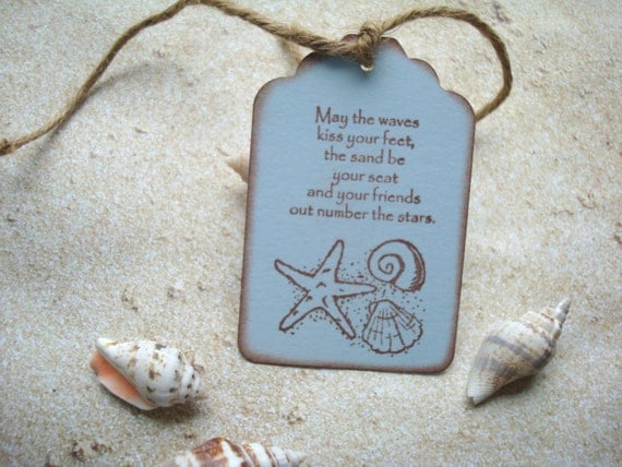 Beach Party/Beach Theme - Wedding Wish Tags - Six Handmade Tags ...