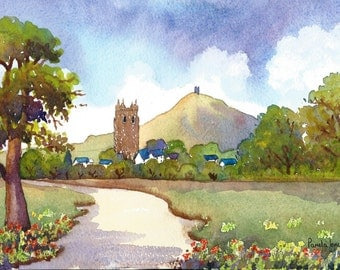 Watercolour Print, Glastonbury Tor, English, landscape, 8ins x 6ins, Gift Idea, Art and Collectibles