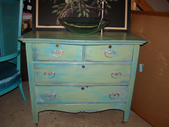 Antique Bathroom Vanity Refinished And Distressed Teal And