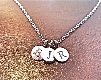 Custom Initial necklace,  - 3 three personalized initials, sterling silver monogram charm, small silver necklace.