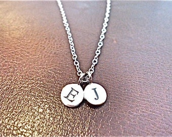 Custom Initial necklace,  - 2 two personalized initials, sterling silver monogram charm, small silver necklace.