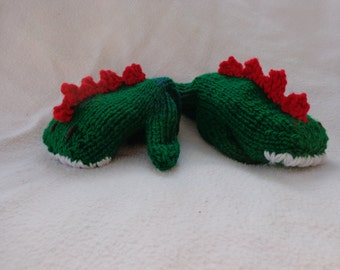 Hand Knit Children's Green/Red Dinosaur Mittens- size small