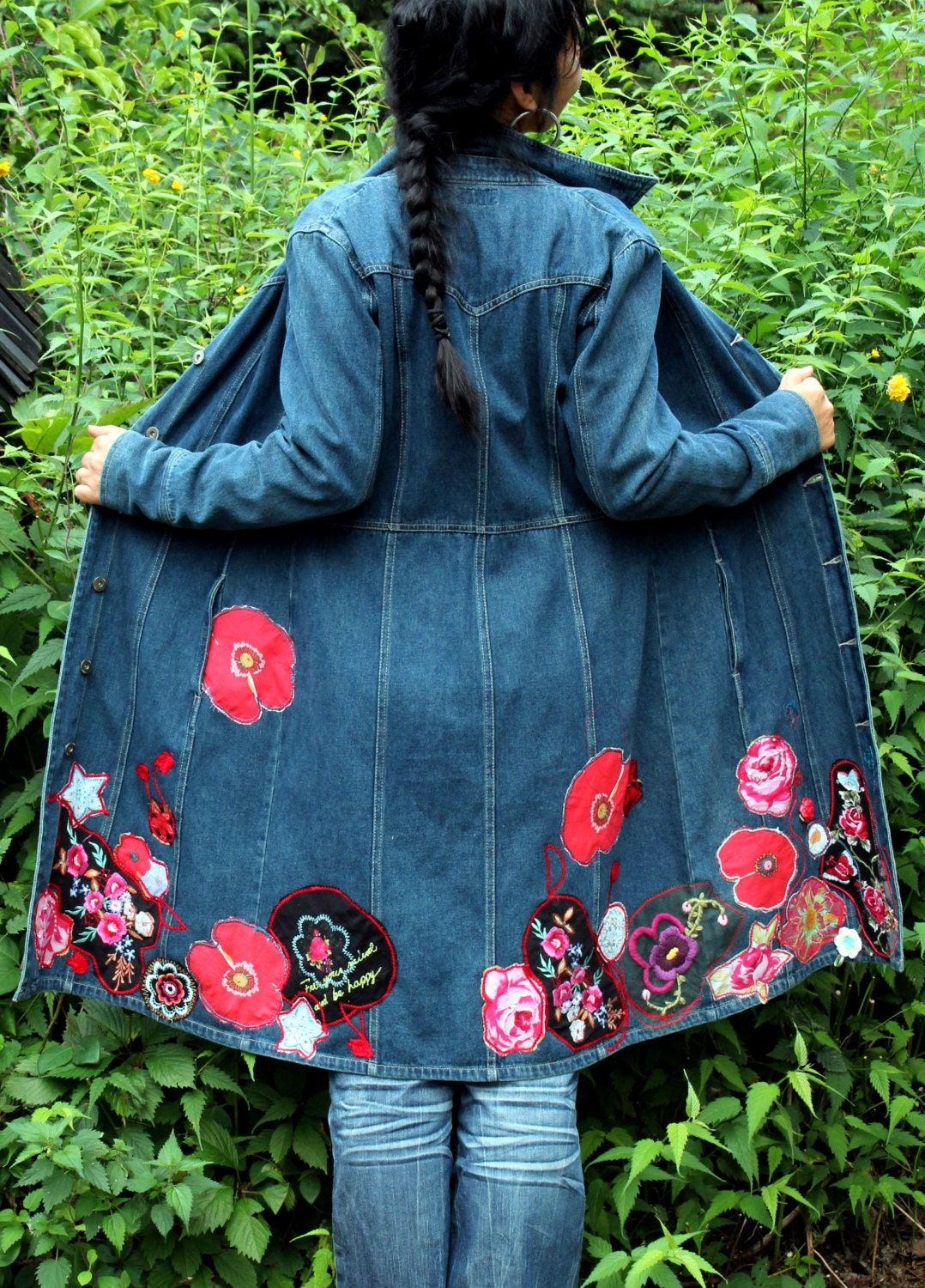Crazy Floral Appliqued Jeans Coat Recycled And Reused