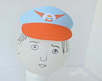 Printable Airplane Birthday Party Pilot Hat/ Visor (Customized) from the Jet on Over Party Collection by Paper Built