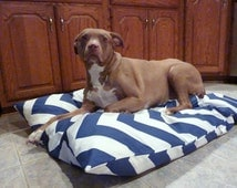 Large Dog Bed Cover - Navy Blue or Coral Chevron Dog Bed Cover - Personalized pet Bed - Dog Beds - Custom dog bed covers - Premier Prints