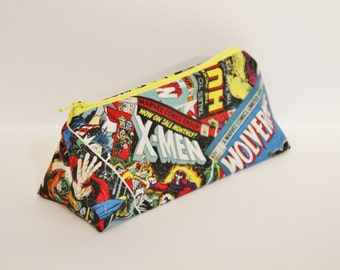 Zippered Marvel Comic Book Themed Pencil Case - Yellow Lining & Zipper