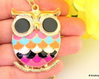 Owl Sitting On A Branch Gold And Multicoloured Pendant Necklace