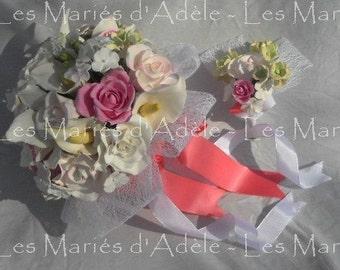 Bouquet + buttonhole wedding soft PASTELS