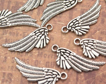 10 Angel Wing Charms Bird Wing Pendants Antiqued Silver Double Sided 3D 14 x 25 mm